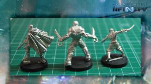 Las miniaturas quedan perfectamente armadas con muy poco esfuerzo, en el ejemplo se han utilizado modelos de Infinity Outrage Character Pack
