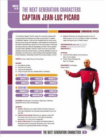 hoja de Personaje del Capitán Picard de Star Trek The Next Generation