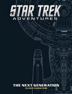 Portada del suplemento con hojas de personaje de todos los personajes de Star Trek The Next Generation