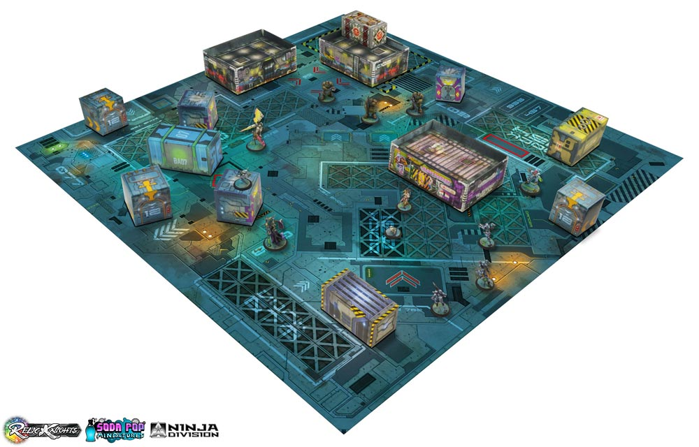 Relic Knights caja de inicio trae todo lo necesario para que dos personas comiencen a jugar.