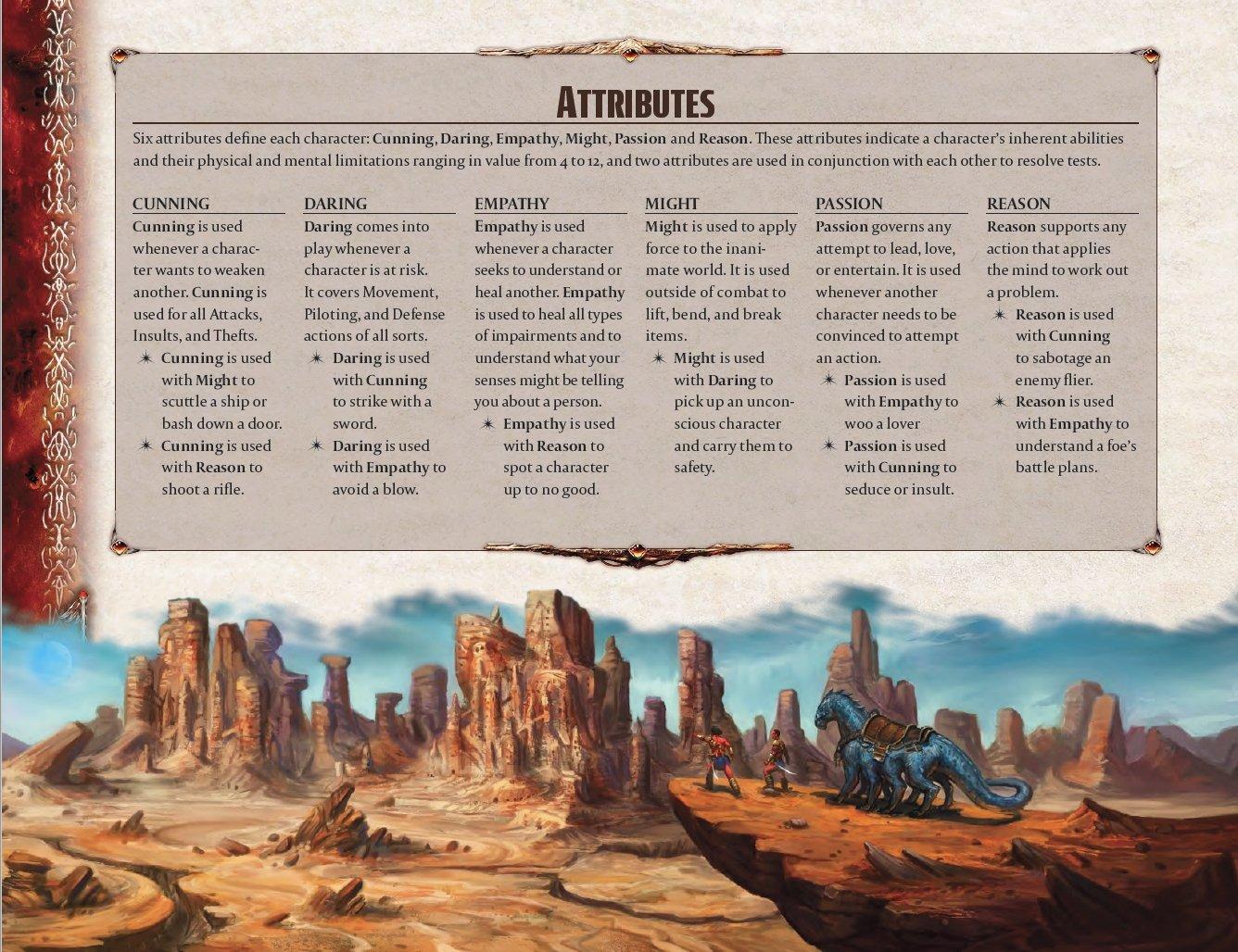 John Carter of Mars Role Playing Game, los atributos son diferentes para esta versión del sistema 2d20 para servir como elemento inmersivo
