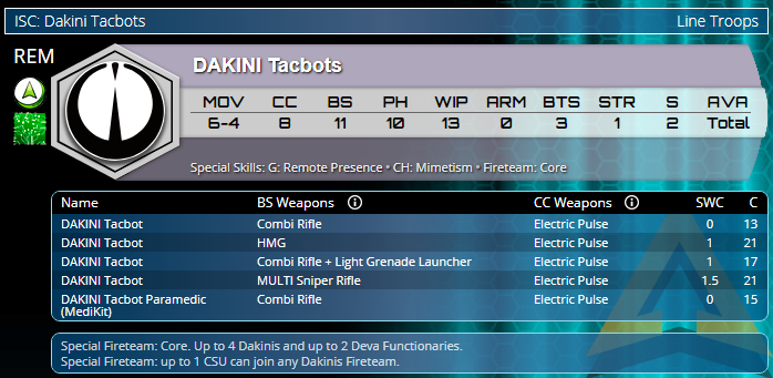 Infinity Operation Coldfront Aleph OperationS Dakini Tacbots
