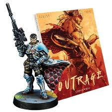 Infinity Outrage cover with promo miniature (not in scale)