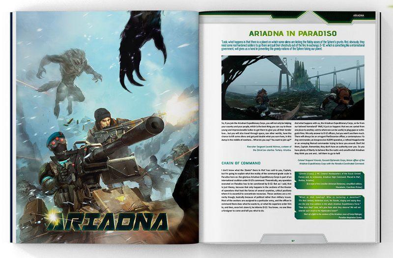 Página de muestra del libro Third Offensive, la más reciente expansión de Infinity