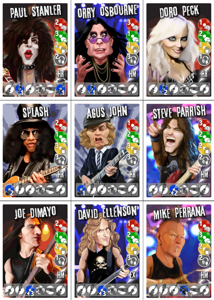 Some musicians from the board game Metal Mania
