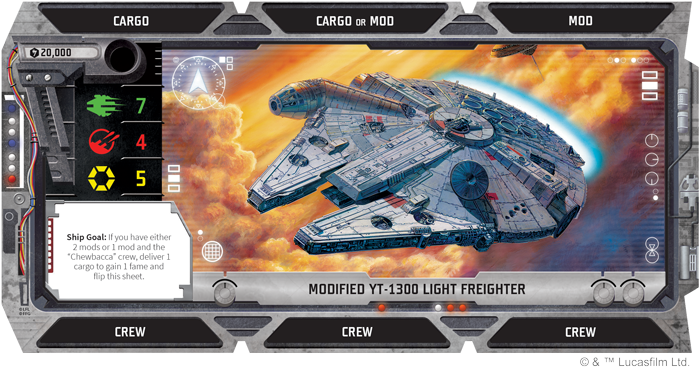 Puede que sea solo un carguero ligero YT-1300 modificado por ahora, pero una vez que logres el objetivo de tu nave, ¡puedes voltear la carta para revelar el Halcón Milenario !