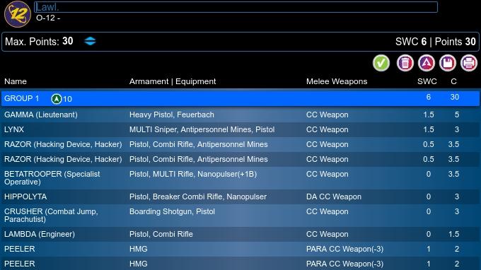 Lista del Ejército O-12 de Code One para este encuentro