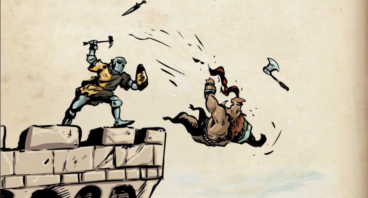 Un Caballero Advocate lanzando a un Battle Pig desde lo alto de una torre