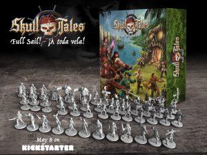 Skull Tales ¡A Toda Vela! Kickstarter caja y miniaturas Skull Tales: Full Sail!