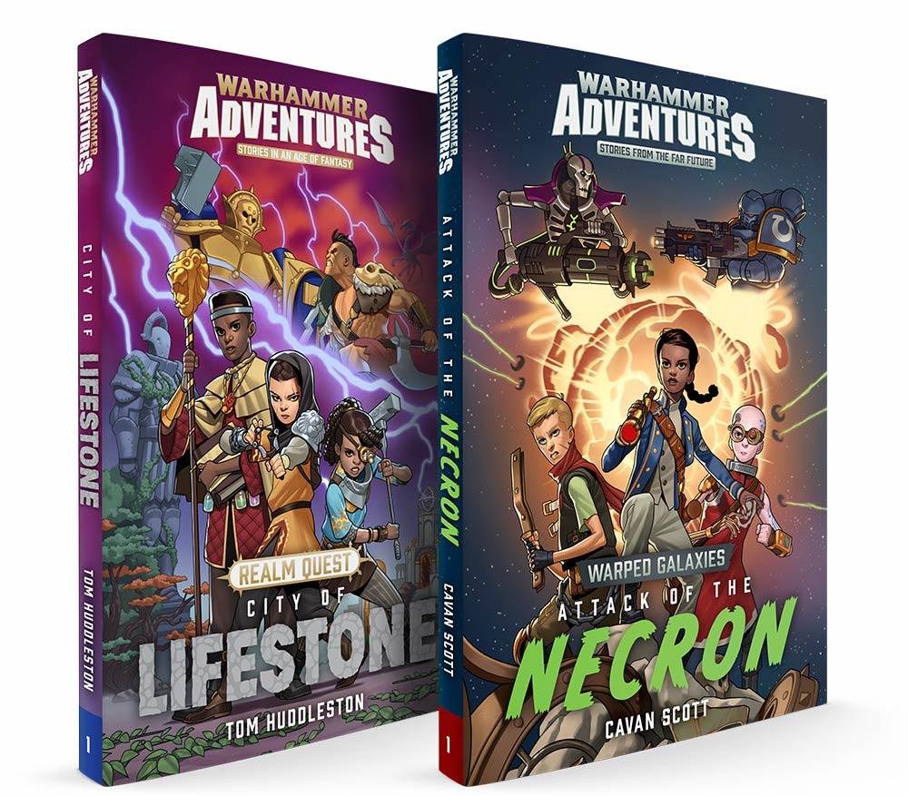 Warhammer Adventures Realm Quest: The City of Lifestone por Tom Huddleston y Warped Galaxies: Attack of the Necron por Cavan Scott