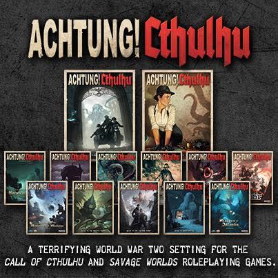 Colección de libros y suplementos actuales de Achtung! Cthulhu