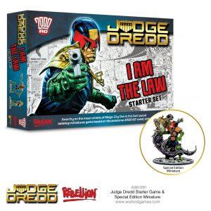 Judge Dredd Juego de Miniaturas Caja de inicio y miniatura promocional